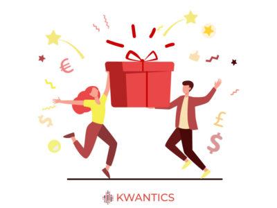 Man and woman gift red vector